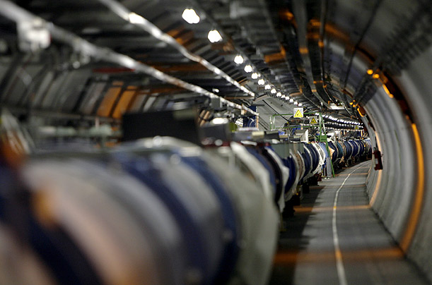 Designed to recreate the conditions just after the Big Bang, the Large Hadron Collider, 27 kilometers (16.7 miles) long, is housed in a pipe-like structure 100 meters below ground.