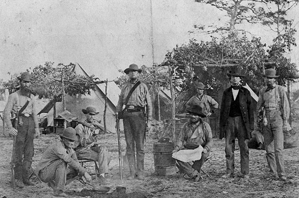 Members of the Union Army's 96th Pennsylvanian Regiment carrying out a drill at Camp Northumberland outside of Washington D.C.