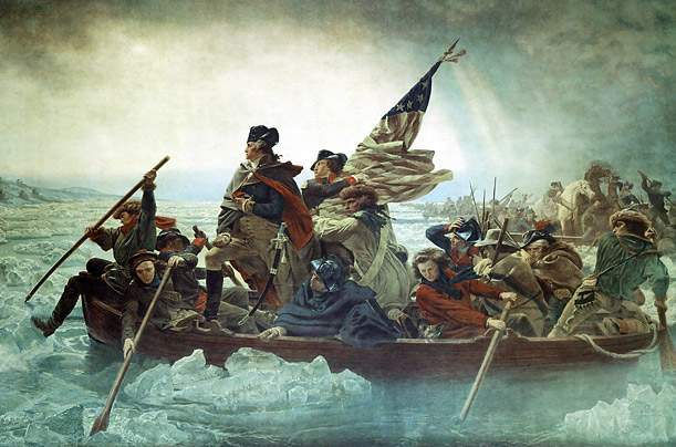 American General George Washington and his army make the historic crossing of the Delaware River