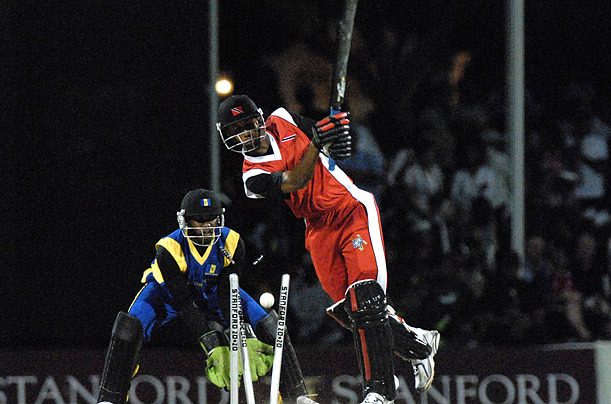 Trinidad & Tobago bats against Barbados in the semi-final match of the 2008 Stanford 20/20 tournament, played in Janaury in Antigua sport cricket