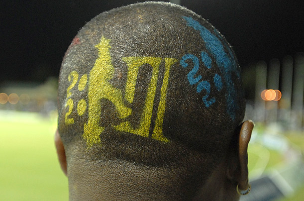 This 20/20 fan was spotted at a match between Jamaica and a professional team from St. Nevis