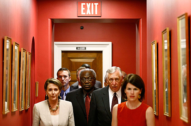 Speaker of the House Nancy Pelosi (D-CA) (L), Majority Whip James Clyburn (D-SC) and House Majority Leader Steny Hoyer (D-MD) (2nd R) head for a news conference on Captiol Hill September 29, 2008 in Washington, DC.