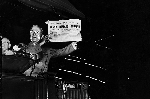 The Democratic incumbent trumpets the Chicago Daily Tribune where the Republican-leaning editors went to press prematurely with the wrong winner on their front page.