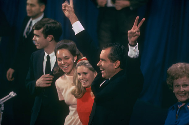 The Republican candidate celebrates his victory over Hubert H. Humphrey with his daughters Julie and Tricia.