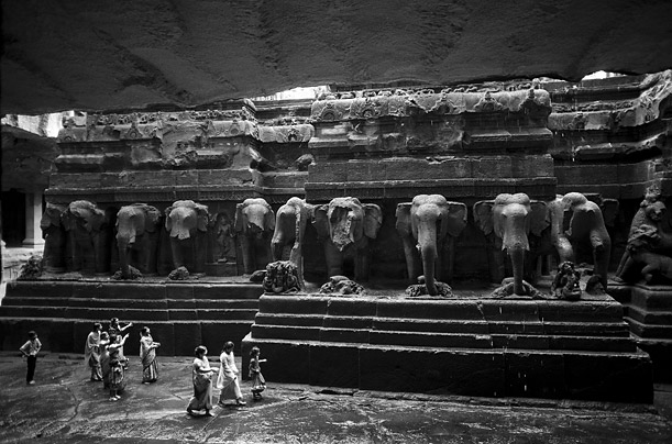 Buddhist monks carved these gigantic elephant sculptures over one thousand years ago into a boulder in the Ellora caves of India.