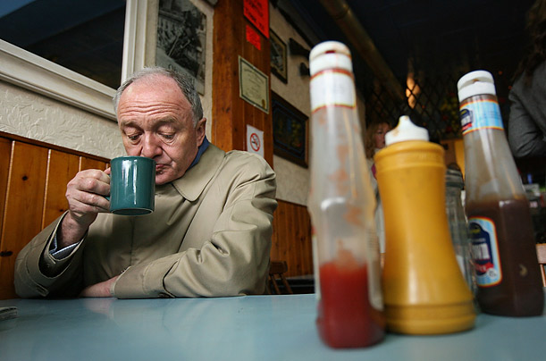 Ken Livingstone enjoys a hot beverage in Ken's Cafe while in West Ham on the final day of his campaign for the London mayoral elections on April 30, 2008 in London, England.