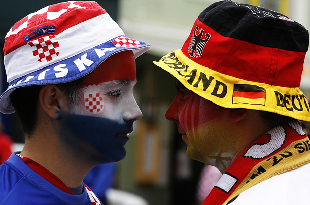 A Croatian and German soccer fan go head to head