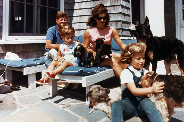 Dog-lovers all, the Kennedys built a special play area near the West Wing for their children and the family pets.