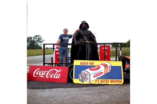 A life-size Darth Vader figure is one of many items on sale at Ron Moses' stand in Crossville, Tennessee.