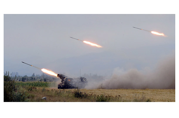 The present round of hostilities began on August 8, when Georgian troops launched an operation to regain control of South Ossetia. Missiles fired from a position near Ergneti, above, were aimed at the South Ossetian capital, Tskhinvali.