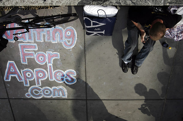 Tony sits in front of the Apple store in New York as one of the first in line for the release of the iPhone  July 9, 2008. A self proclaimed Luddite, Tony is being paid one hundred and fifty dollars by a friend to hold his place in line.