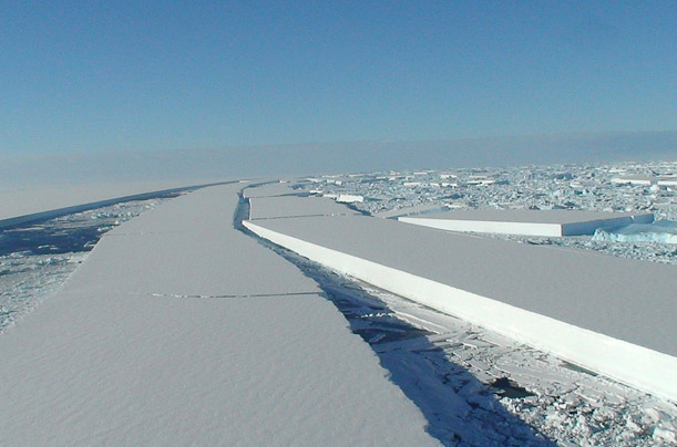 On March 25, 2008 a 160 square mile chunk of the Wilkins Ice Shelf in Antartica disintegrated. This loss, about 7 times the size of Manhattan, puts an even larger portion of the glacial ice shelf at risk.