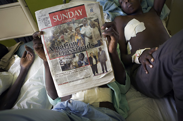 At a hospital in Eldoret, young victims heal in a ward where there are more patients than beds.