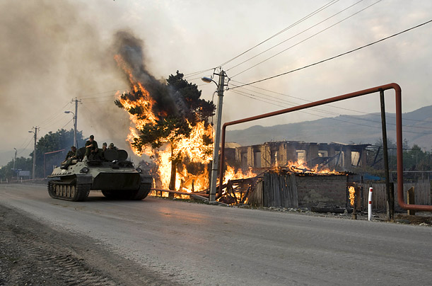 Georgia Conflict Aftermath On patrol with Russian troops, TIME photographer Yuri Kozyrev witnesses fires and devastation in the conflicted region Tskhinvali
