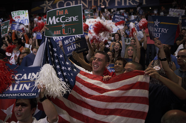 Supporters cheer McCain at a Midnight rally on the campus of the University of Miami.