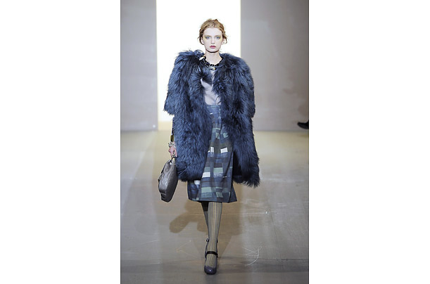 At Marni, designer Consuelo Castiglioni experimented with a longer silhouette and big, shaggy fur coats.