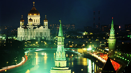 Russia, Moscow, river Moskva at night, Cathedral of Christ the Saviour