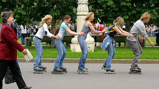 Visitors roller skate at Moscow