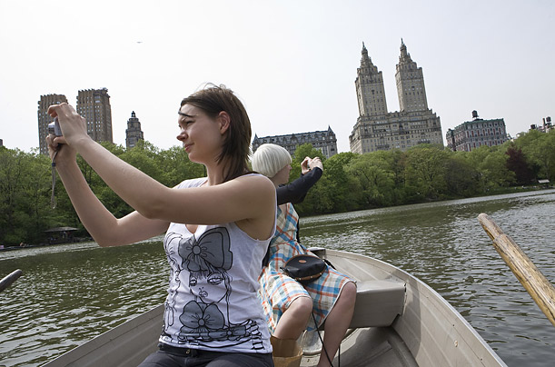 For some of the best views of Manhattan, Heinemann recommends renting a boat from the Loeb Boathoouse in Central Park.