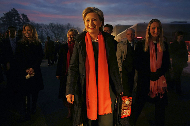 Many of the candidates, including Hillary Clinton, greeted voters and poll workers with coffee in the pre-dawn hours.