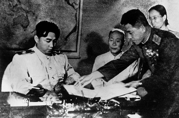 July 27, 1953 Kim Il Sung signs the armistice agreement. The treaty ends the Korean War, but leaves the peninsula divided into North and South Korea.