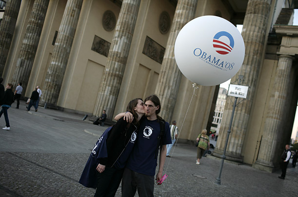 Young Obama supporters stand in Berlin's historic plaza. During his visit, Obama used the symbolism of the Berlin Wall to articulate the importance of destroying the barriers that separate countries and cultures.