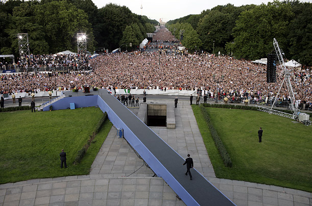 Obama walks a runway to the podium where he delivered his speech, at the base of the Victory Column.