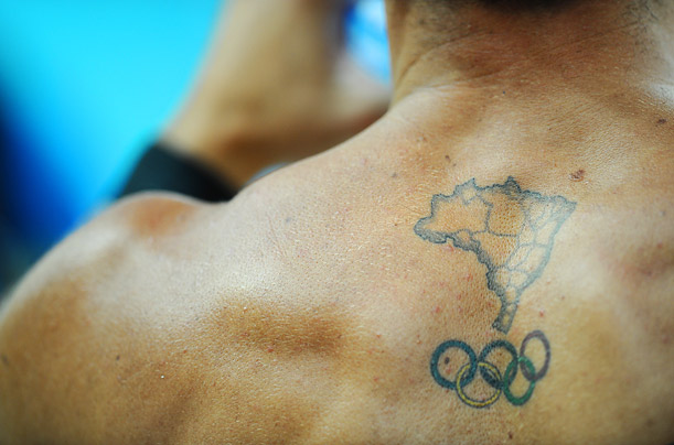 Olympic Tattoos. Next · Back; 1 of 8. A member of the Brazilian swimming