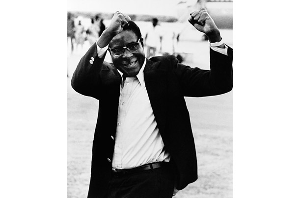 In 1975, Mugabe was freed from prison, having served ten years for