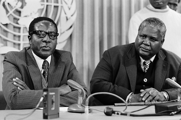 During the fight for control of Rhodesia, Mugabe joined forces with rival Joshua N'Komo, to create the Patriotic Front of Zimbabwe.