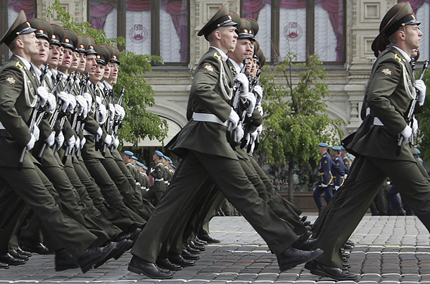Russian soldiers march during a Victory Day Parade on Red Square in Moscow on May 9, 2008.