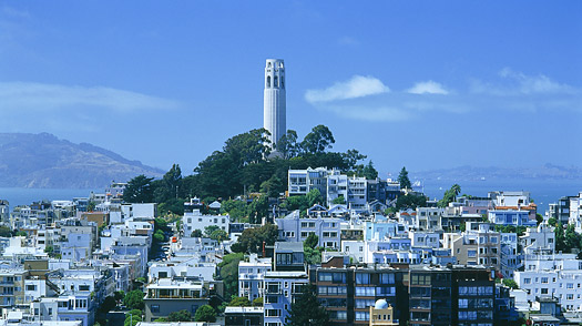 Coit Tower and Telegraph Hill.