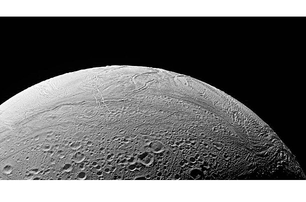 This alternative view of Cassini's target shows the part of Enceladus that is geologically active. The spacecraft will encounter geysers of ice, water vapor and dust erupting from fissures in the surface.
