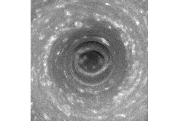 In 2006, Cassini captured this view of Saturn's southern pole, where a hurricane-like storm swirls.