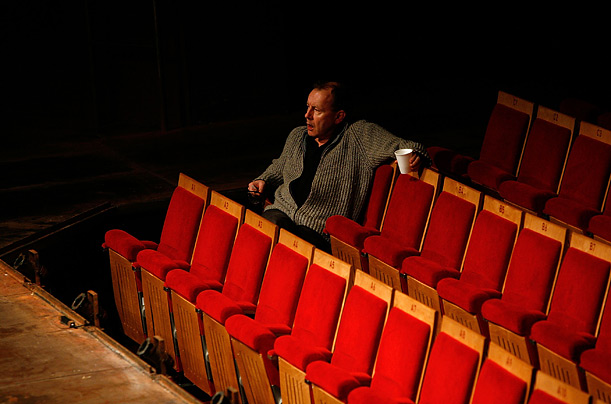Director Michael Boyd watches a technical rehearsal of Henry VI, Part I.