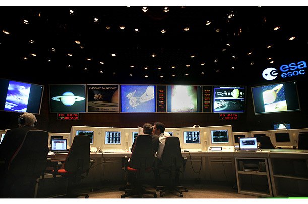 Technicians man the control room at the European Space Agency's control center in Darmstadt, Germany.