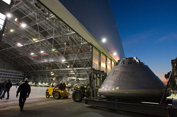 A mock-up of the Orion space capsule is loaded into a hangar at NASA's Langley Research Center in Hampton, Virginia.