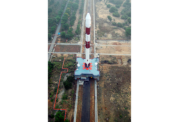 A PSLV C-9 rocket is transported to its launch pad at the Sriharikota space station near Chennai. Launched in April, the vehicle carried 10 satellites into space.