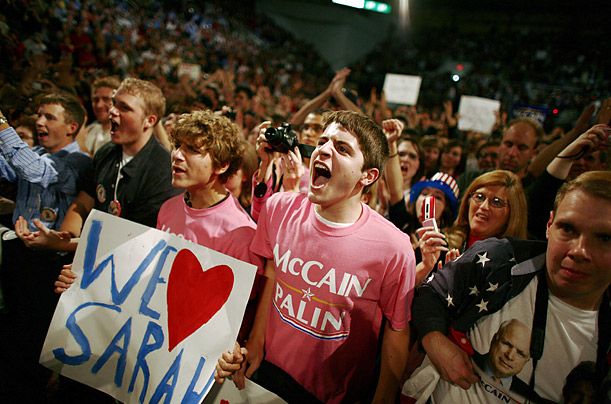 GOP supporters shout for their nominee on Oct. 8.