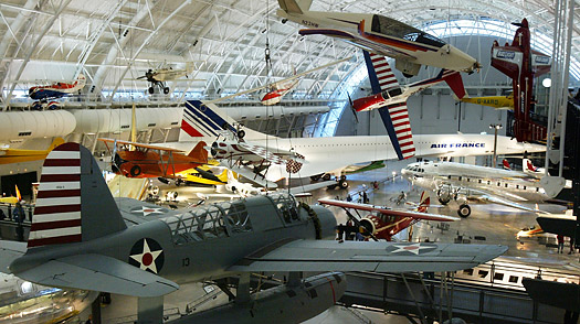 aircraft are displayed James S. McDonnell Space Hanger at the Smithsonian National Air and Space Museum
