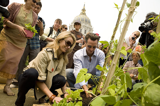 In San Francisco Mayor Gavin Newsome helps plant the first edible garden at City Hall since 1943.