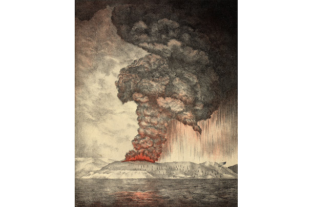 More than 36,000 people are believed to have been killed by the explosion of Krakatoa between Java and Sumatra on August 26 and 27, 1883.