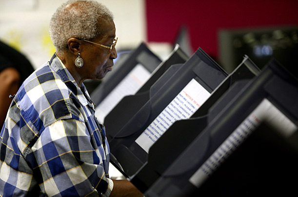 This voter is using machines made by Diebold.