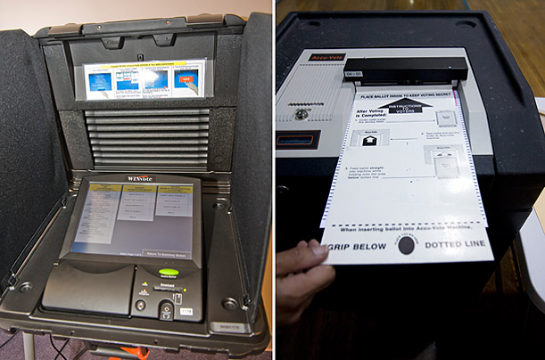 Advanced Voting Systems makes the WinVote machine, used in some Virginia counties, left; In Boston, right a poll worker inserts a ballot into an AccuVote scanner.