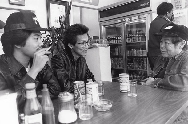 CHAN IS MISSING, Marc Hayashi, Wayne Wang(middle), Wood Moy, 1982.