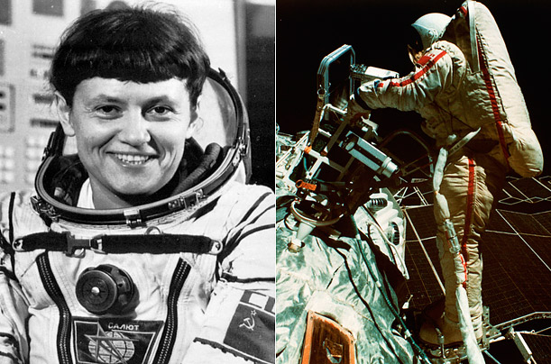 19 years after Tereshkova's historic flight, Cosmonaut Savitskaya became the second woman in space. As part of her mission, she spent three hours and 35 minutes outside the Salyut 7 space station.
