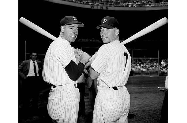 Two of the finest players to ever wear Yankee pinstripes, Joe DiMaggio and Mickey Mantle, appear together at an Old-Timers day event in 1953. The two all-star's careers overlapped for only one season, in 1951.