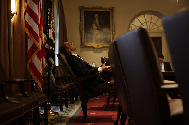 Obama gathers his thoughts during a meeting with Treasury Secretary Timothy Geithner. He often spends several moments in silent reflection before making a decision.
