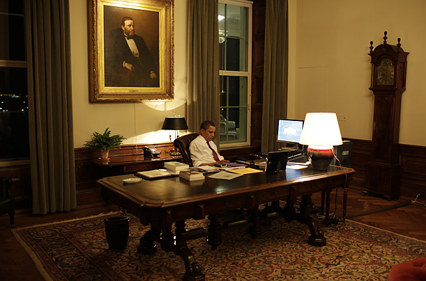 A portrait of Ulysses S. Grant hangs in Obama's private office, where he often adjourns in the evening to work.