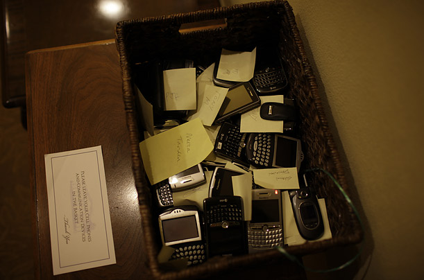 All who enter the Oval Office, Roosevelt Room and Cabinet Room are asked to leave their mobile devices in baskets like these, stationed around the West Wing.